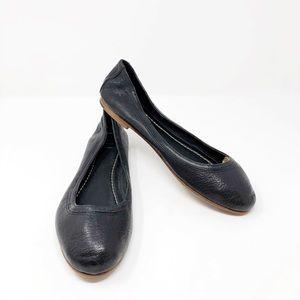 [Frye] Black Leather Round Toe Carson Ballet Flats